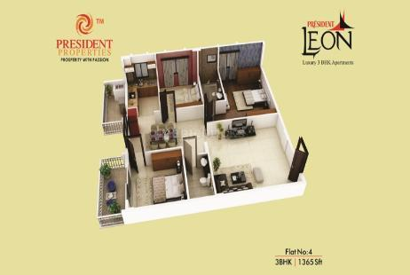 3 BHK Multistorey Apartment in President Leon at Yelahanka-Image